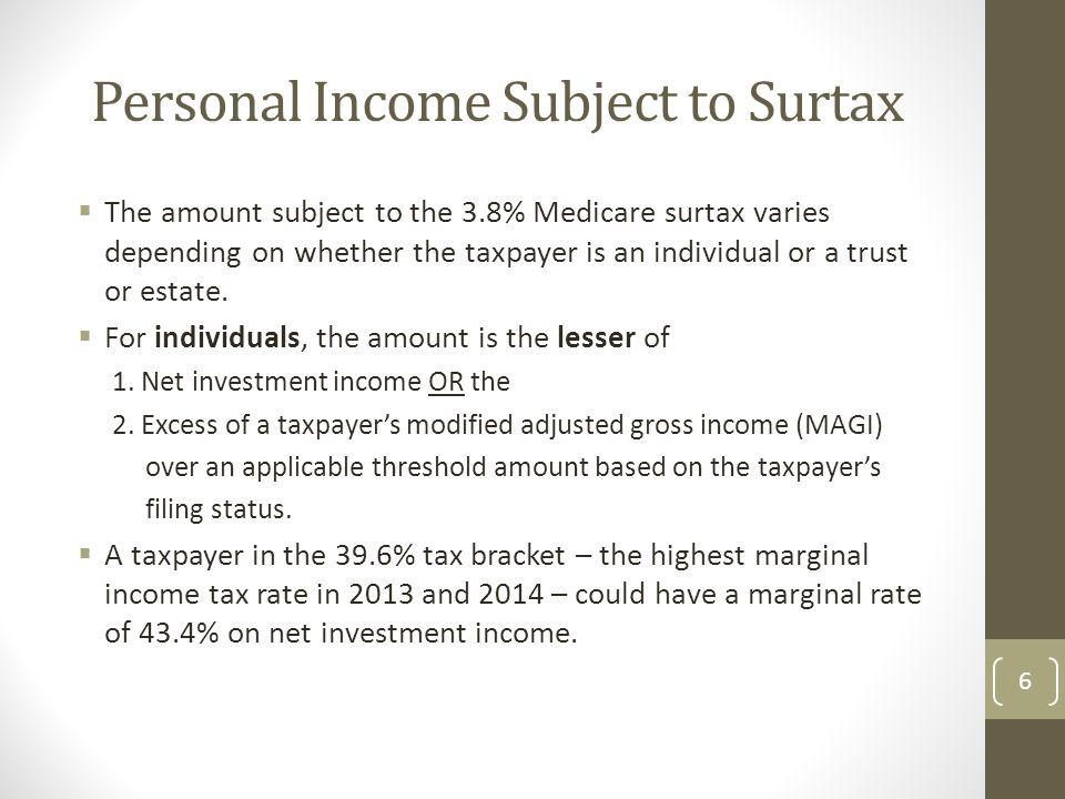 Personal Income Subject to Surtax  The amount subject to the 3.8% Medicare surtax varies depending on whether the taxpayer is an individual or a trust or estate.