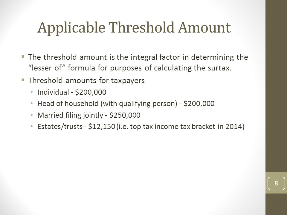 Applicable Threshold Amount  The threshold amount is the integral factor in determining the lesser of formula for purposes of calculating the surtax.