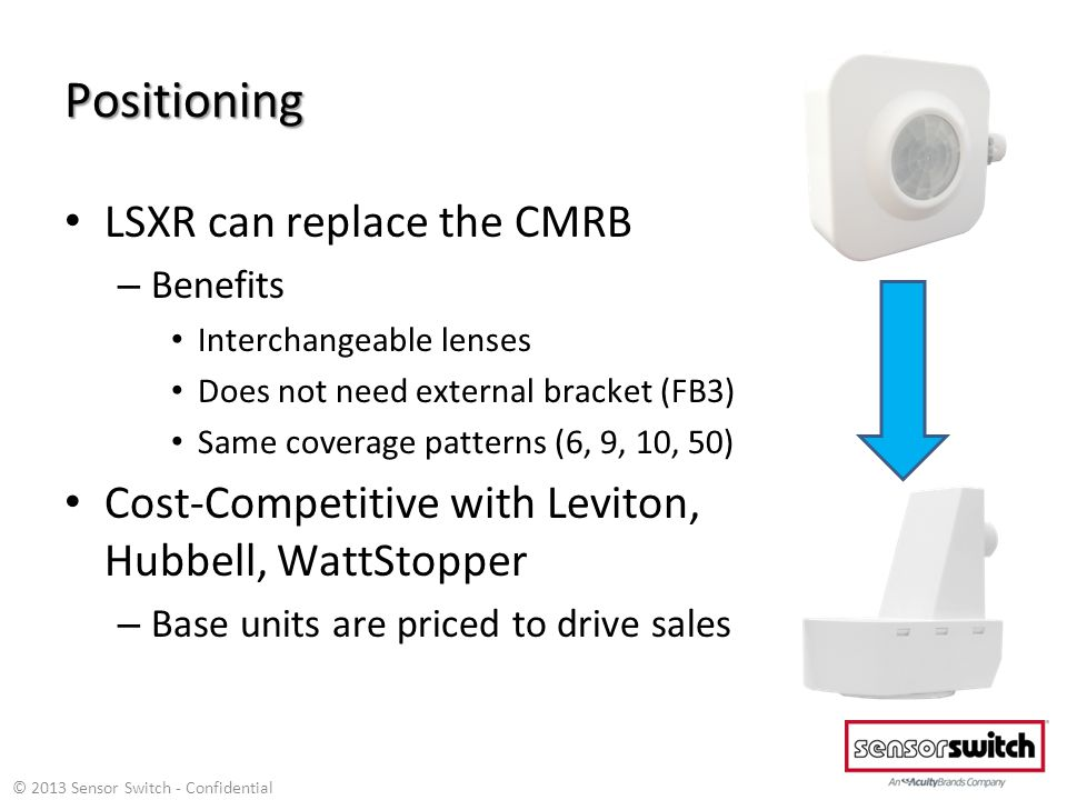 Positioning LSXR can replace the CMRB – Benefits Interchangeable lenses Does not need external bracket (FB3) Same coverage patterns (6, 9, 10, 50) Cost-Competitive with Leviton, Hubbell, WattStopper – Base units are priced to drive sales © 2013 Sensor Switch - Confidential