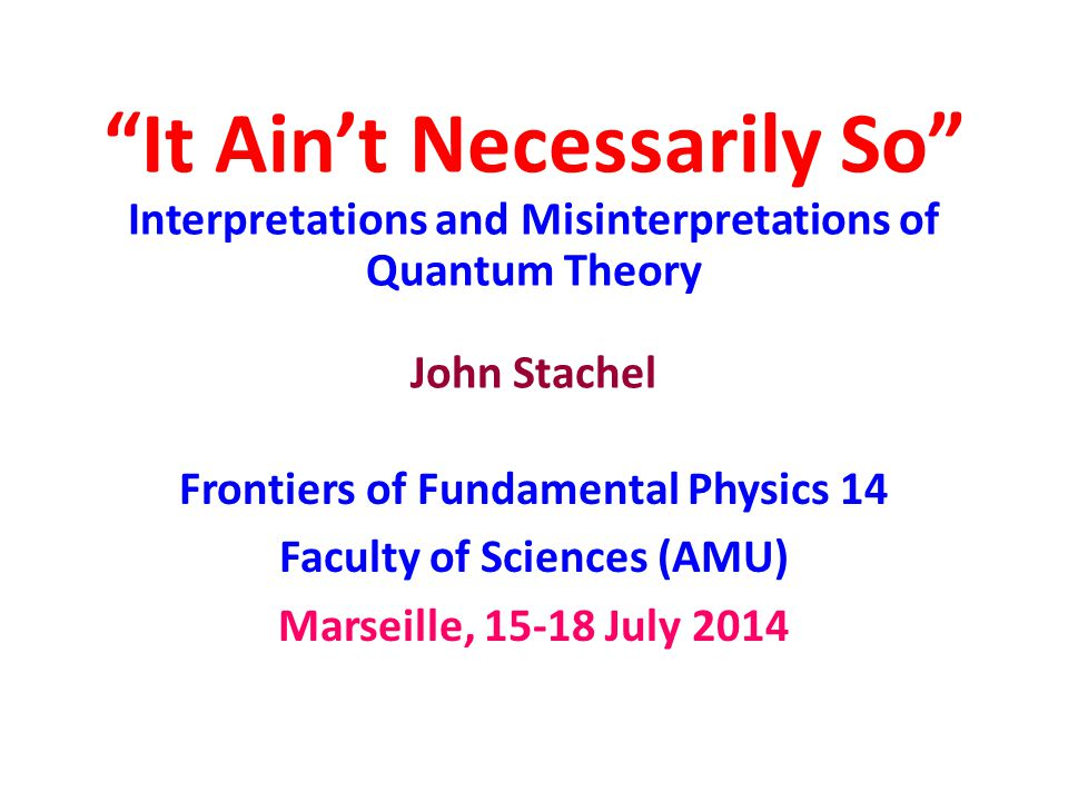 Primacy of Process But sometimes we most definitely cannot, as Bohr and Rosenfeld demonstrated for QFT, where the basic quantities defined by the theory are space-time averages.