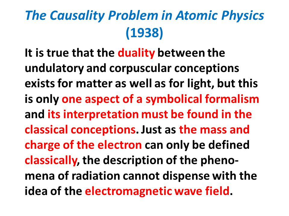 The Causality Problem in Atomic Physics (1938) It is true that the duality between the undulatory and corpuscular conceptions exists for matter as wel