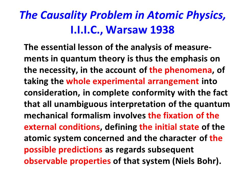 The Causality Problem in Atomic Physics, I.I.I.C., Warsaw 1938 The essential lesson of the analysis of measure- ments in quantum theory is thus the em