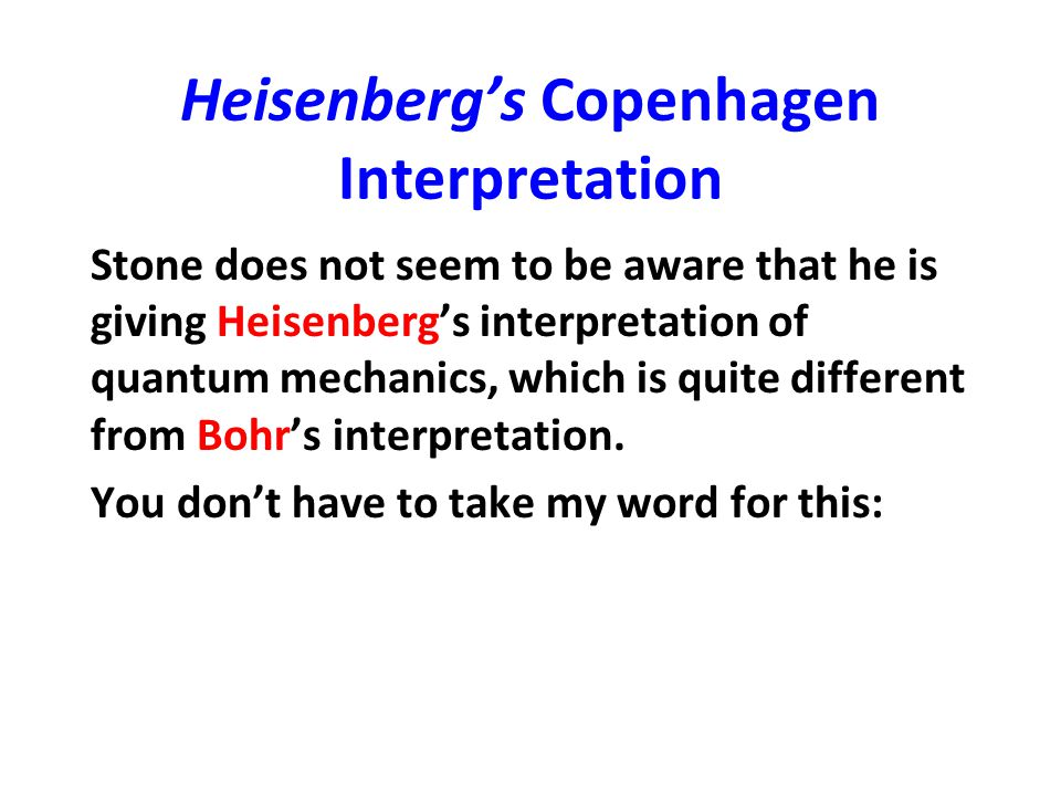 Bohr on Langevin 1) [I]n order to avoid any misunderstanding concerning the significance of the word indeterminism , … recall that in quantum effects we were not dealing with behaviour independent of the objects, but that the observable phenomena essentially depend upon the interaction of these objects with the measuring instruments which fix the conditions for the experiment.