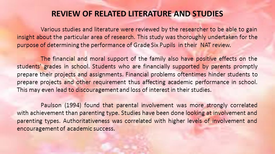 REVIEW OF RELATED LITERATURE AND STUDIES Various studies and literature were reviewed by the researcher to be able to gain insight about the particular area of research.
