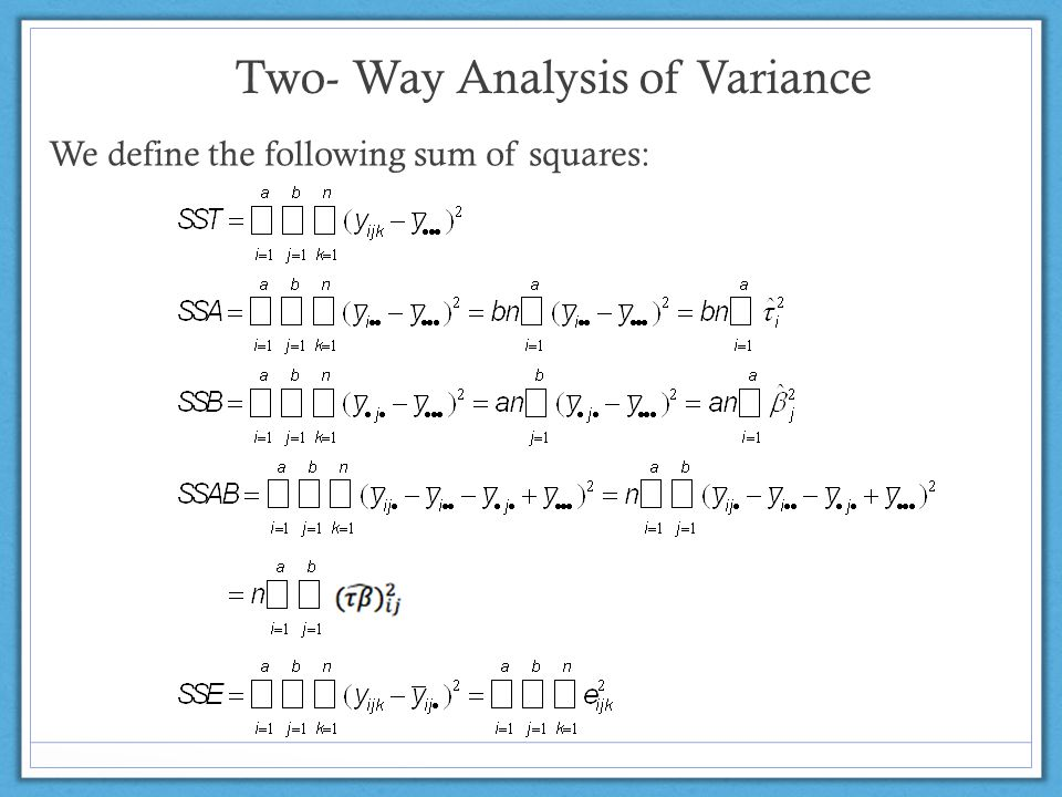 Two- Way Analysis of Variance We define the following sum of squares: