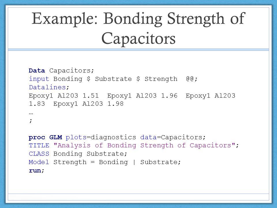 Example: Bonding Strength of Capacitors Data Capacitors; input Bonding $ Substrate $ Strength @@; Datalines; Epoxy1 Al203 1.51 Epoxy1 Al203 1.96 Epoxy