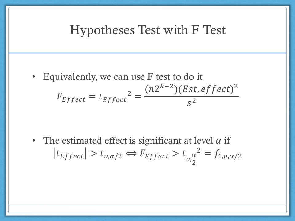 Hypotheses Test with F Test