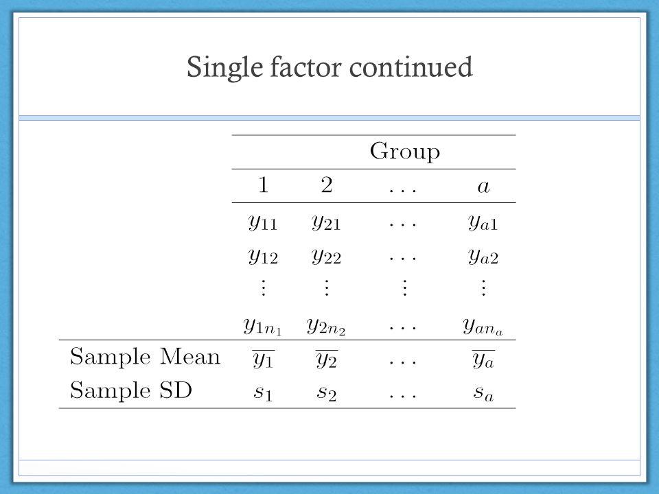Single factor continued