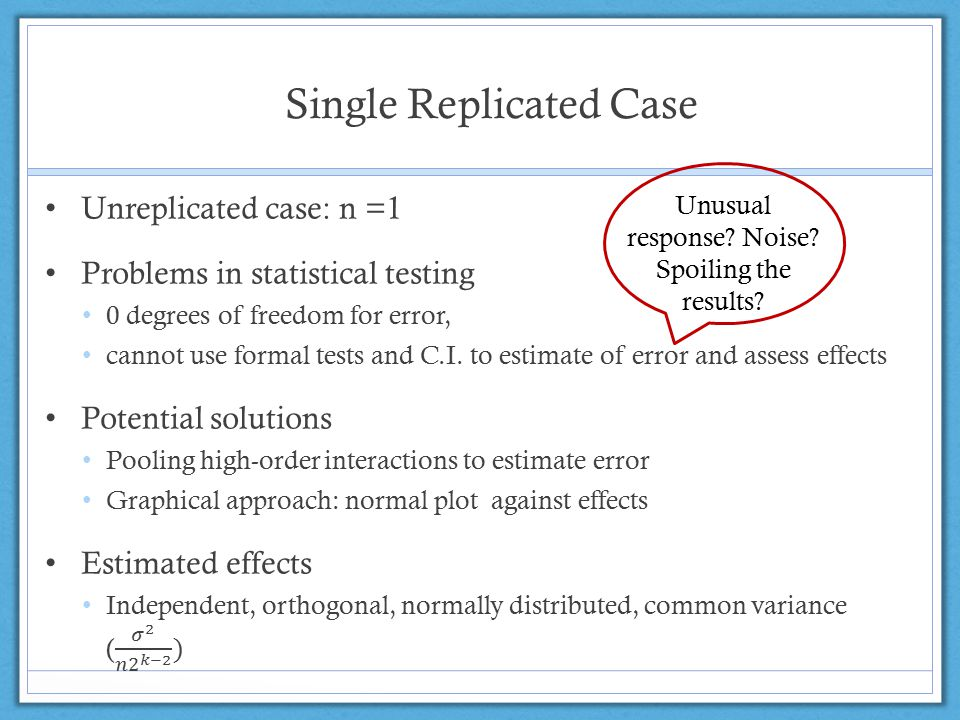 Single Replicated Case Unusual response Noise Spoiling the results