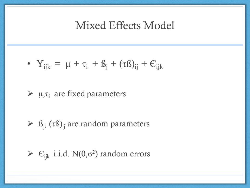 Mixed Effects Model Y ijk = µ + τ i + ß j + ( τ ß) ij + Є ijk  µ, τ i are fixed parameters  ß j, ( τ ß) ij are random parameters  Є ijk i.i.d. N(0,