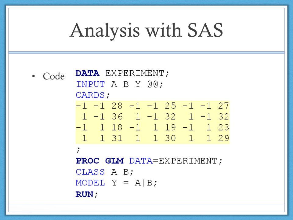Analysis with SAS Code