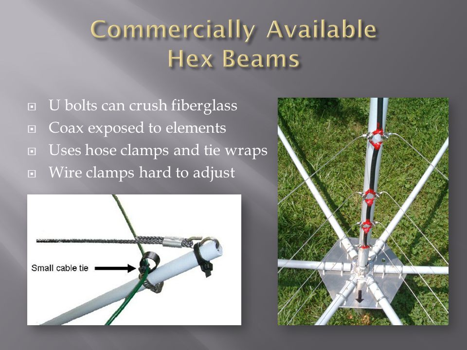  U bolts can crush fiberglass  Coax exposed to elements  Uses hose clamps and tie wraps  Wire clamps hard to adjust