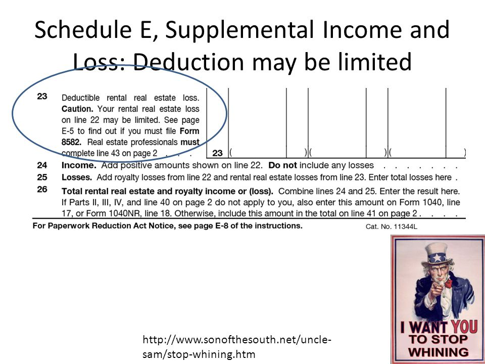 Schedule E, Supplemental Income and Loss: Deduction may be limited http://www.sonofthesouth.net/uncle- sam/stop-whining.htm