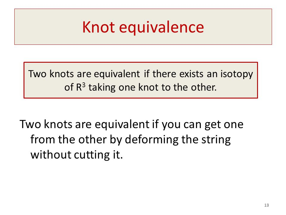 Knot equivalence Two knots are equivalent if you can get one from the other by deforming the string without cutting it.