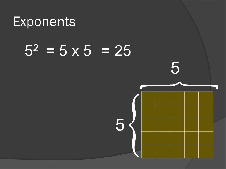 Exponents 5252 = 5 x 5= 25 5 5