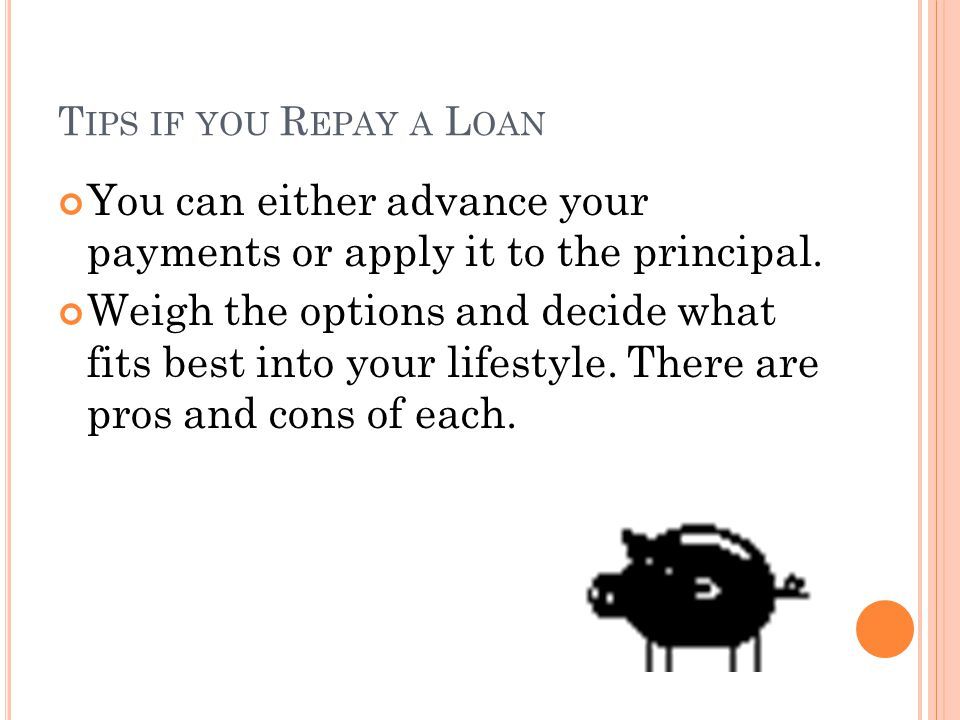 L OAN R EPAYMENT O PTIONS Advanced payments work by applying your Ed award first towards interest and less towards principal.