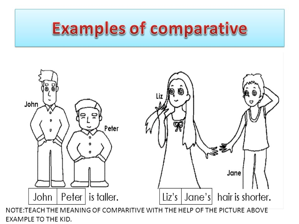 NOTE:TEACH THE MEANING OF COMPARITIVE WITH THE HELP OF THE PICTURE ABOVE EXAMPLE TO THE KID.
