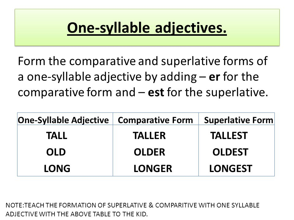 One-syllable adjectives.