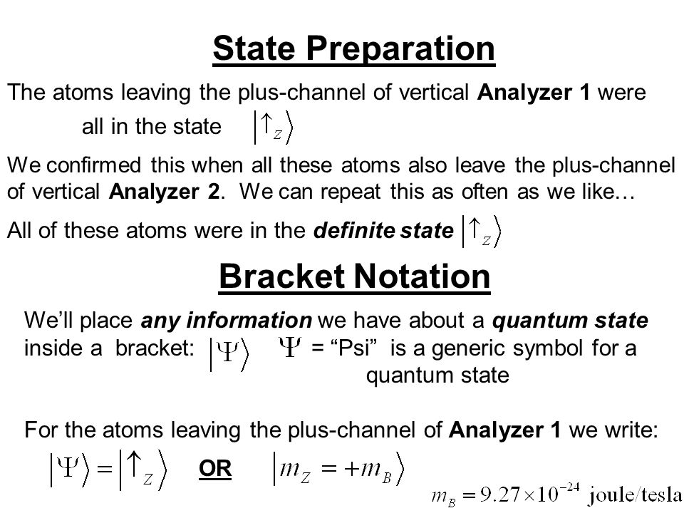 State Preparation The atoms leaving the plus-channel of vertical Analyzer 1 were all in the state We confirmed this when all these atoms also leave the plus-channel of vertical Analyzer 2.