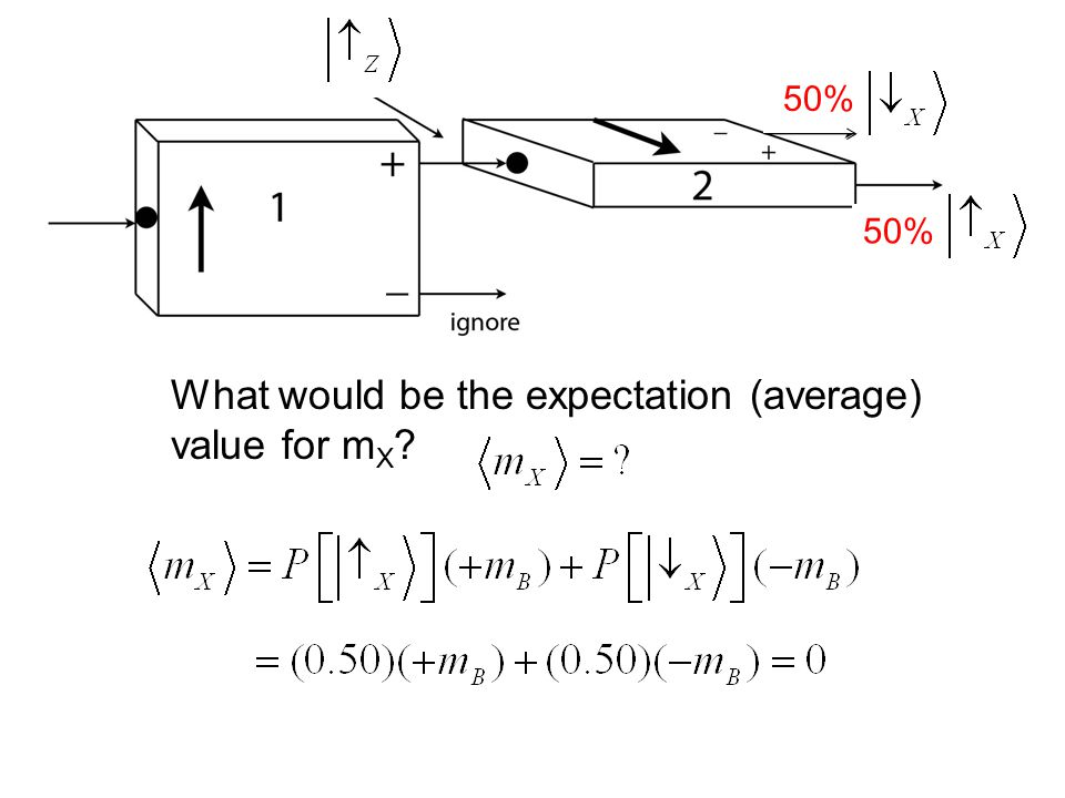 50% What would be the expectation (average) value for m X