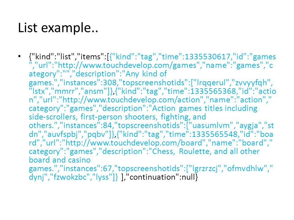 List example.. {