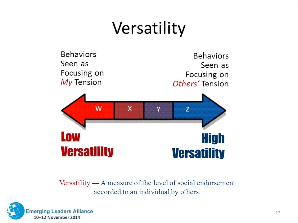 Versatility Versatility — A measure of the level of social endorsement accorded to an individual by others.