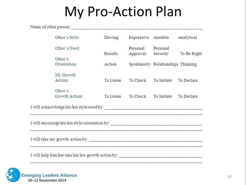 My Pro-Action Plan Name of other person: ___________________________________________________________ Other's Style:DrivingExpressiveAmiableAnalytical Other's Need:PersonalPersonal ResultsApprovalSecurity To Be Right Other's Orientation:ActionSpontaneityRelationships Thinking My Growth Action:To ListenTo CheckTo InitiateTo Declare Other's Growth Action:To ListenTo CheckTo InitiateTo Declare I will acknowledge his/her style need by:____________________________________________ _____________________________________________________________________________ I will encourage his/her style orientation by: _________________________________________ _____________________________________________________________________________ I will take my growth action by: ___________________________________________________ _____________________________________________________________________________ I will help him/her take his/her growth action by: _____________________________________ _____________________________________________________________________________ 24