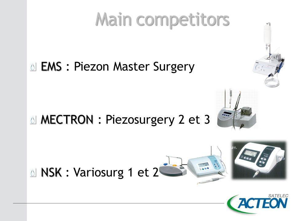 Main competitors EMS EMS : Piezon Master Surgery MECTRON MECTRON : Piezosurgery 2 et 3 NSK NSK : Variosurg 1 et 2