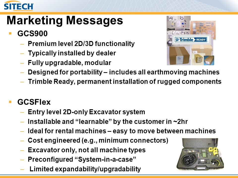 Marketing Messages  GCS900 –Premium level 2D/3D functionality –Typically installed by dealer –Fully upgradable, modular –Designed for portability – i