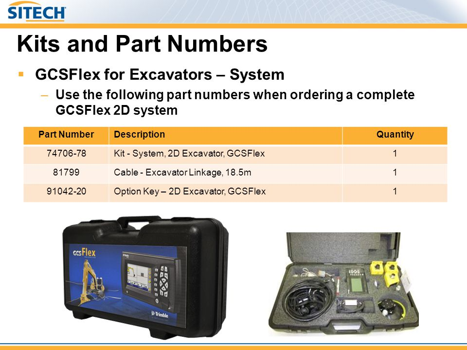 Kits and Part Numbers  GCSFlex for Excavators – System –Use the following part numbers when ordering a complete GCSFlex 2D system Part NumberDescript