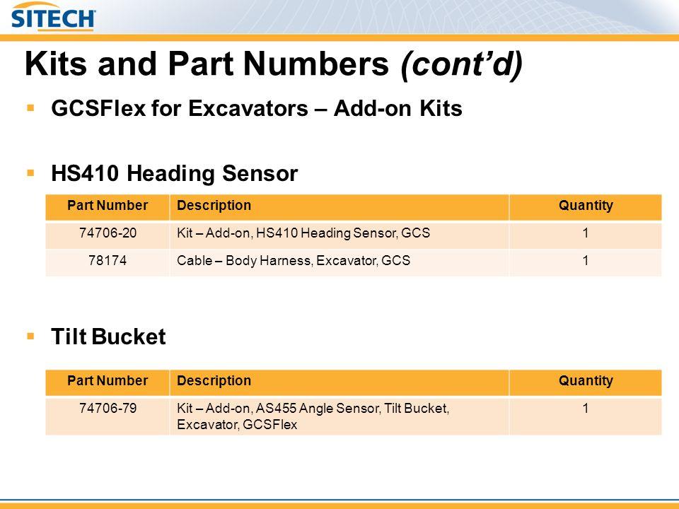 Kits and Part Numbers (cont'd)  GCSFlex for Excavators – Add-on Kits  HS410 Heading Sensor  Tilt Bucket Part NumberDescriptionQuantity 74706-79Kit