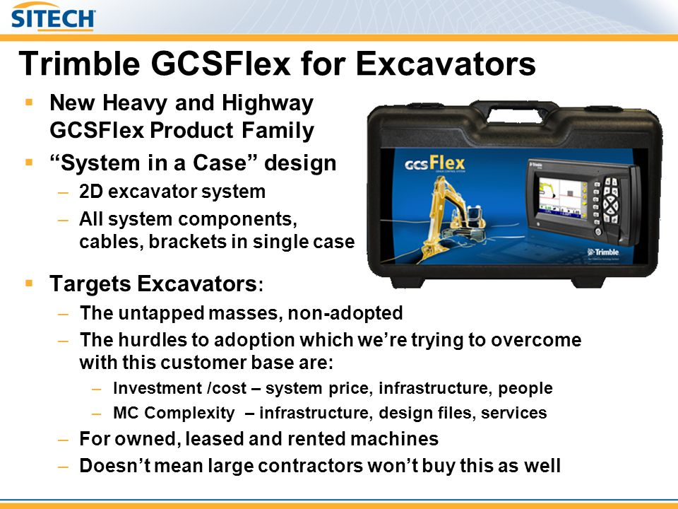 """ New Heavy and Highway GCSFlex Product Family  """"System in a Case"""" design –2D excavator system –All system components, cables, brackets in single cas"""