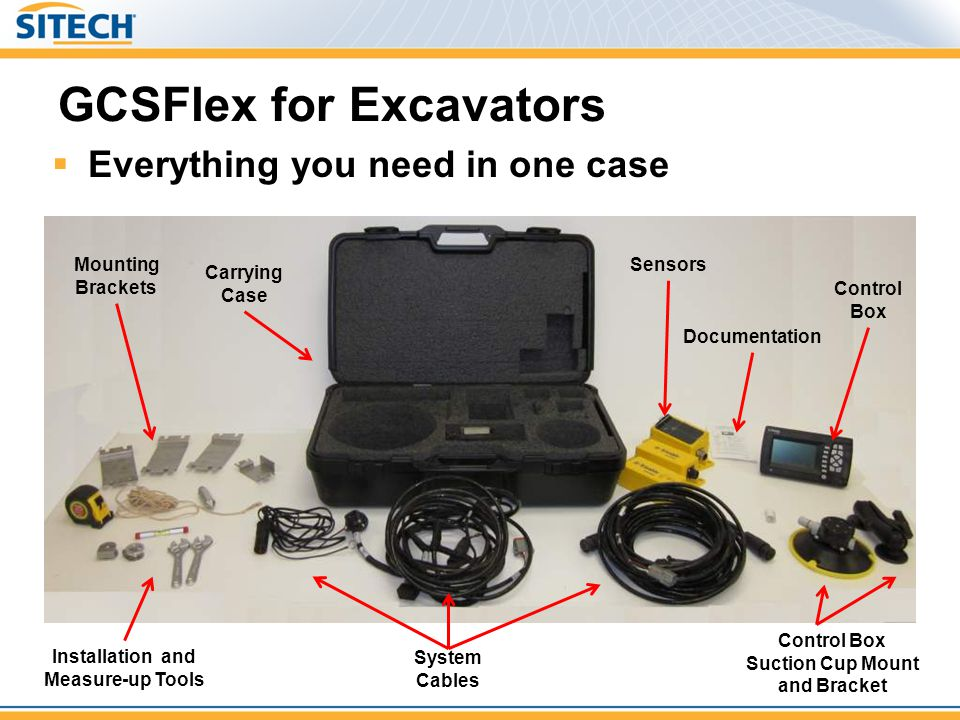GCSFlex for Excavators  Everything you need in one case Installation and Measure-up Tools System Cables Mounting Brackets Sensors Carrying Case Docum