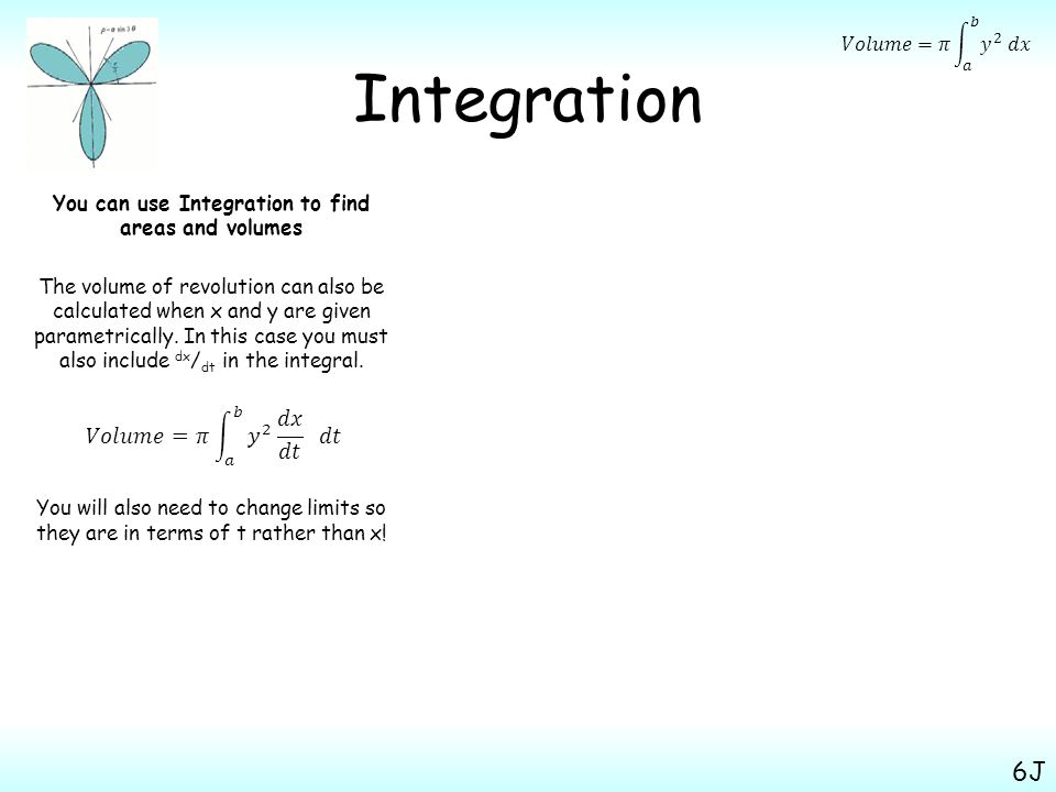 Integration You can use Integration to find areas and volumes The volume of revolution can also be calculated when x and y are given parametrically.