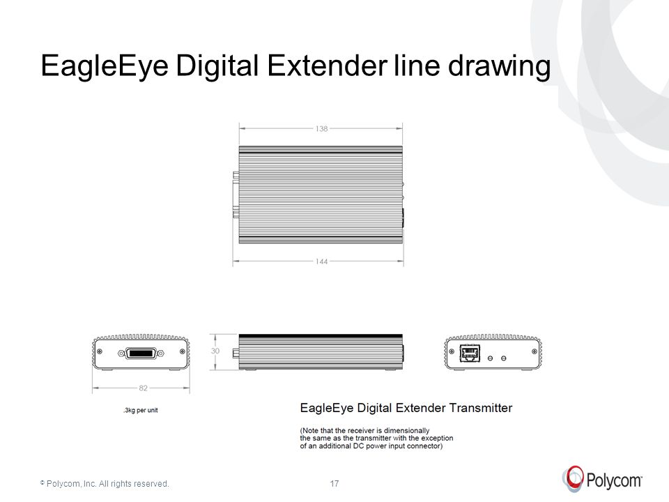 © Polycom, Inc. All rights reserved.17 EagleEye Digital Extender line drawing