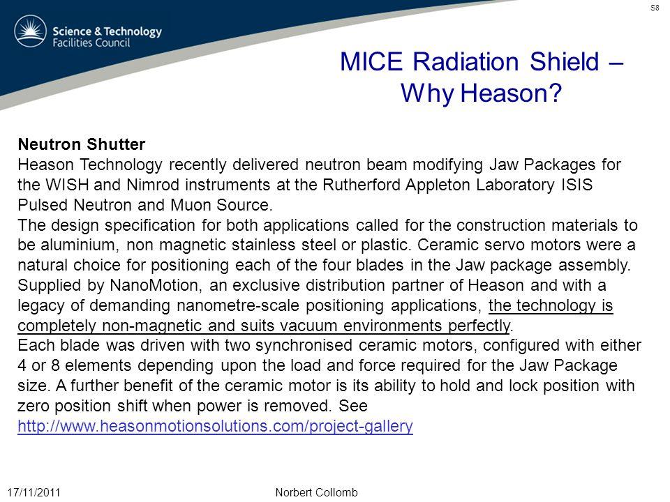 MICE Radiation Shield – Why Heason.