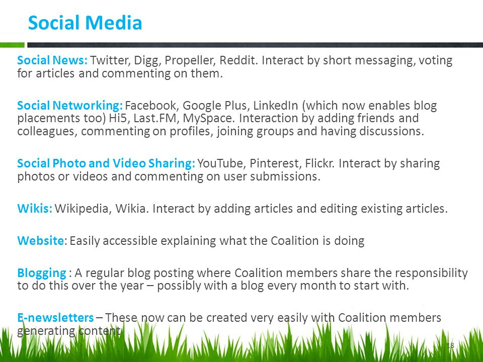 Social Media Social News: Twitter, Digg, Propeller, Reddit.