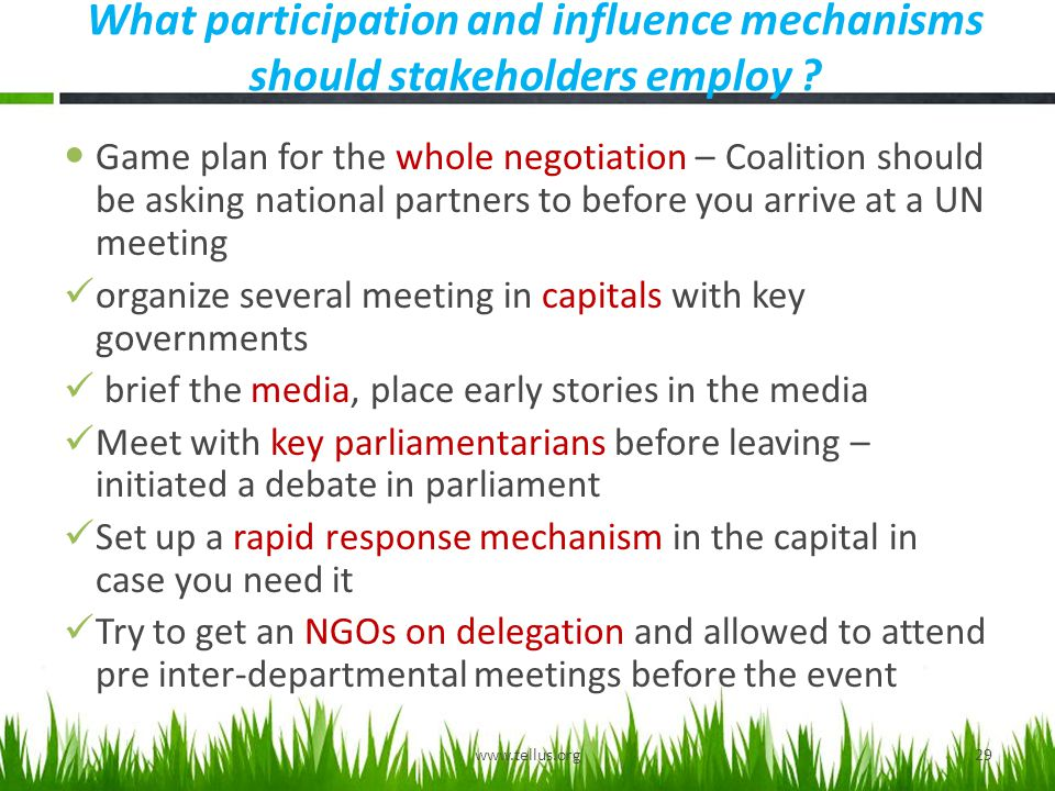 What participation and influence mechanisms should stakeholders employ .