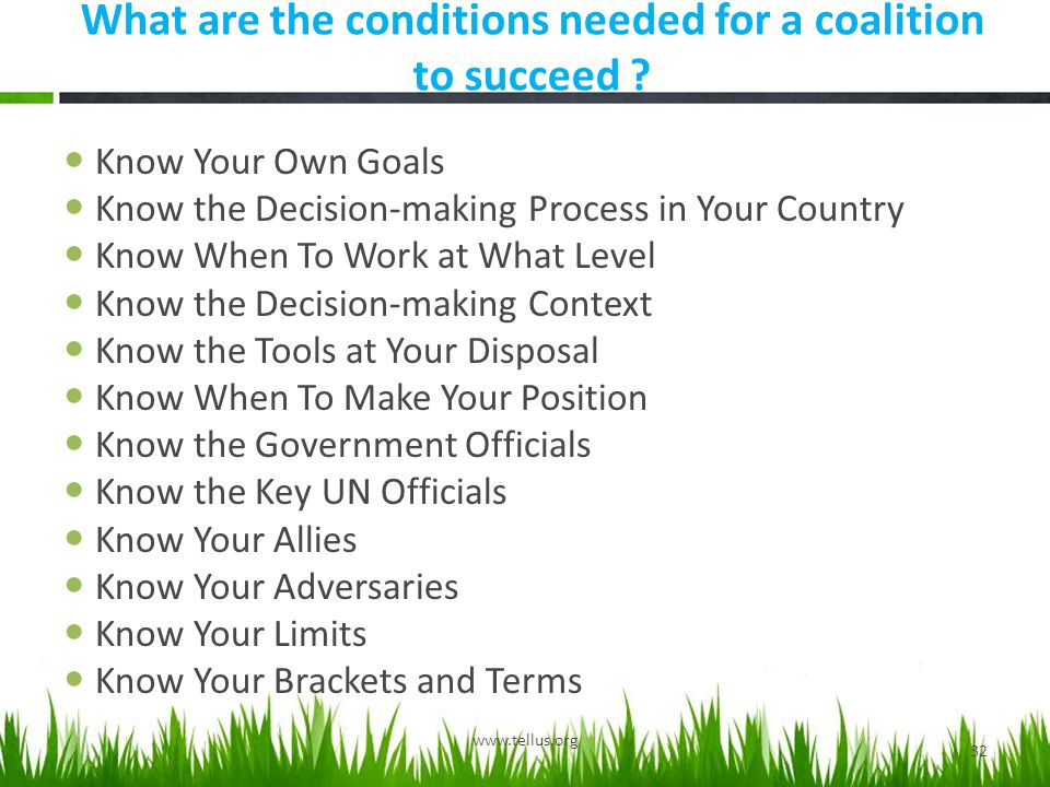 What are the conditions needed for a coalition to succeed .