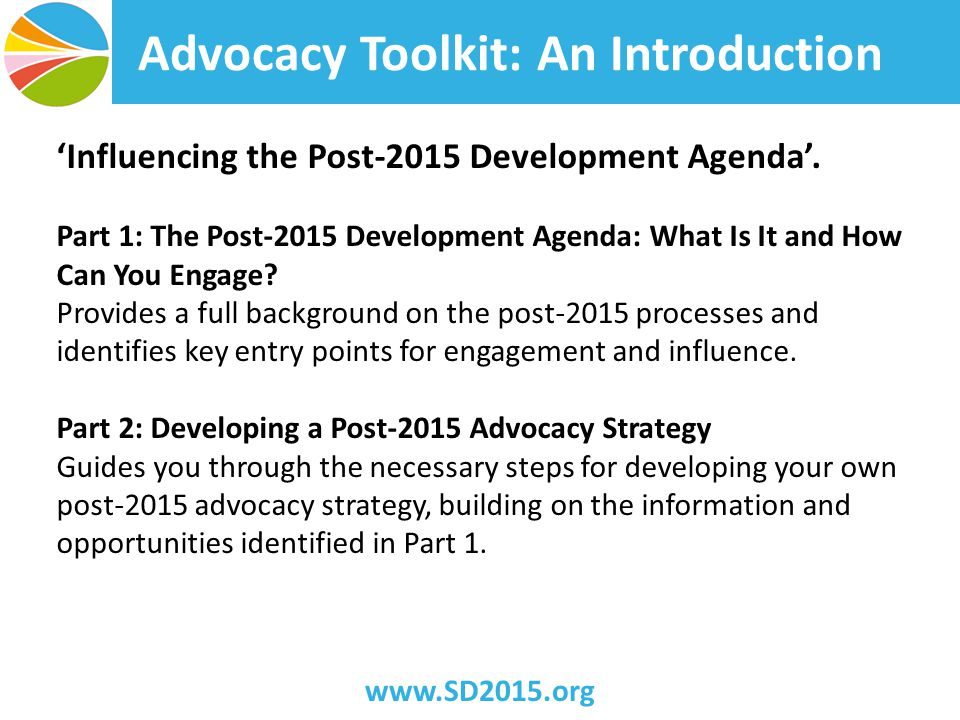 Advocacy Toolkit: An Introduction 'Influencing the Post-2015 Development Agenda'.