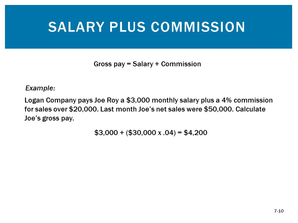SALARY PLUS COMMISSION 7-10 Gross pay = Salary + Commission Logan Company pays Joe Roy a $3,000 monthly salary plus a 4% commission for sales over $20,000.