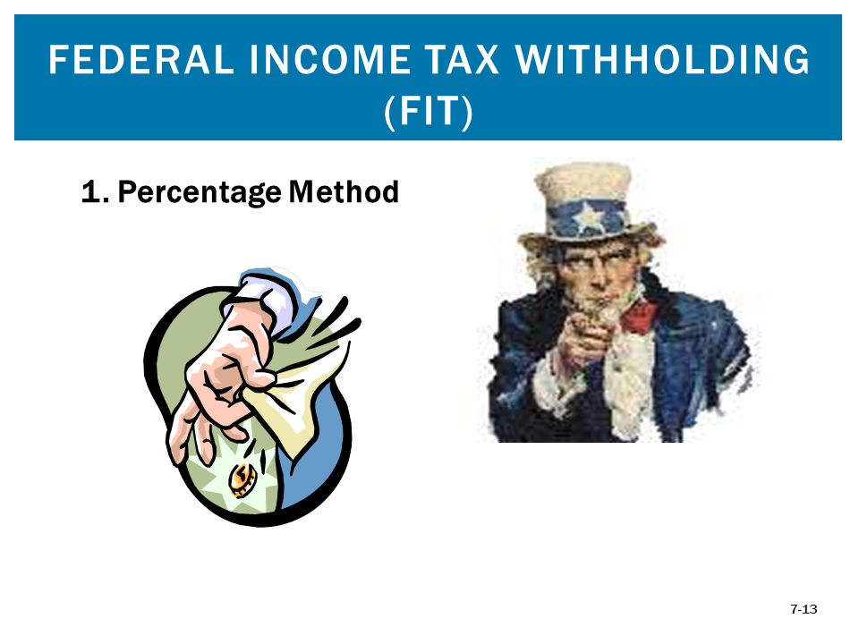 FEDERAL INCOME TAX WITHHOLDING (FIT) 7-13 1. Percentage Method