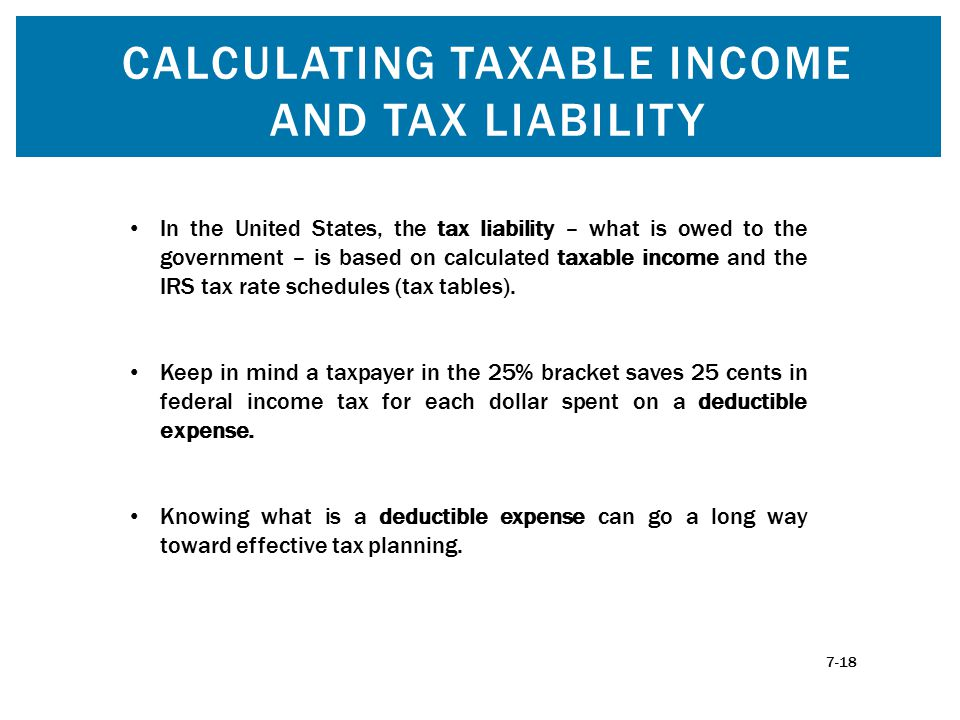 CALCULATING TAXABLE INCOME AND TAX LIABILITY In the United States, the tax liability – what is owed to the government – is based on calculated taxable
