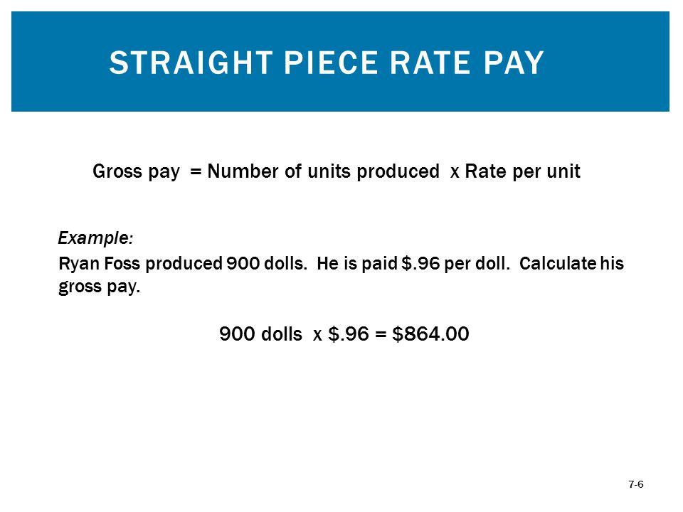 STRAIGHT PIECE RATE PAY 7-6 Gross pay = Number of units produced x Rate per unit Ryan Foss produced 900 dolls. He is paid $.96 per doll. Calculate his
