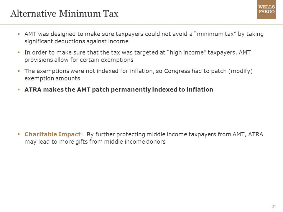 31 Alternative Minimum Tax  AMT was designed to make sure taxpayers could not avoid a minimum tax by taking significant deductions against income  In order to make sure that the tax was targeted at high income taxpayers, AMT provisions allow for certain exemptions  The exemptions were not indexed for inflation, so Congress had to patch (modify) exemption amounts  ATRA makes the AMT patch permanently indexed to inflation  Charitable Impact: By further protecting middle income taxpayers from AMT, ATRA may lead to more gifts from middle income donors