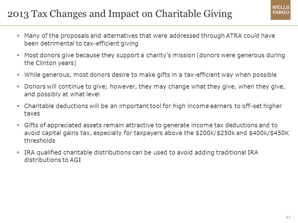 41 2013 Tax Changes and Impact on Charitable Giving  Many of the proposals and alternatives that were addressed through ATRA could have been detrimental to tax-efficient giving  Most donors give because they support a charity's mission (donors were generous during the Clinton years)  While generous, most donors desire to make gifts in a tax-efficient way when possible  Donors will continue to give; however, they may change what they give, when they give, and possibly at what level  Charitable deductions will be an important tool for high income earners to off-set higher taxes  Gifts of appreciated assets remain attractive to generate income tax deductions and to avoid capital gains tax, especially for taxpayers above the $200k/$250k and $400k/$450K thresholds  IRA qualified charitable distributions can be used to avoid adding traditional IRA distributions to AGI