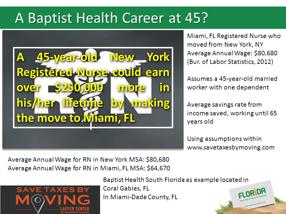 Insert your logo here A 45-year-old New York Registered Nurse could earn over $250,000 more in his/her lifetime by making the move to Miami, FL Miami, FL Registered Nurse who moved from New York, NY Average Annual Wage: $80,680 (Bur.