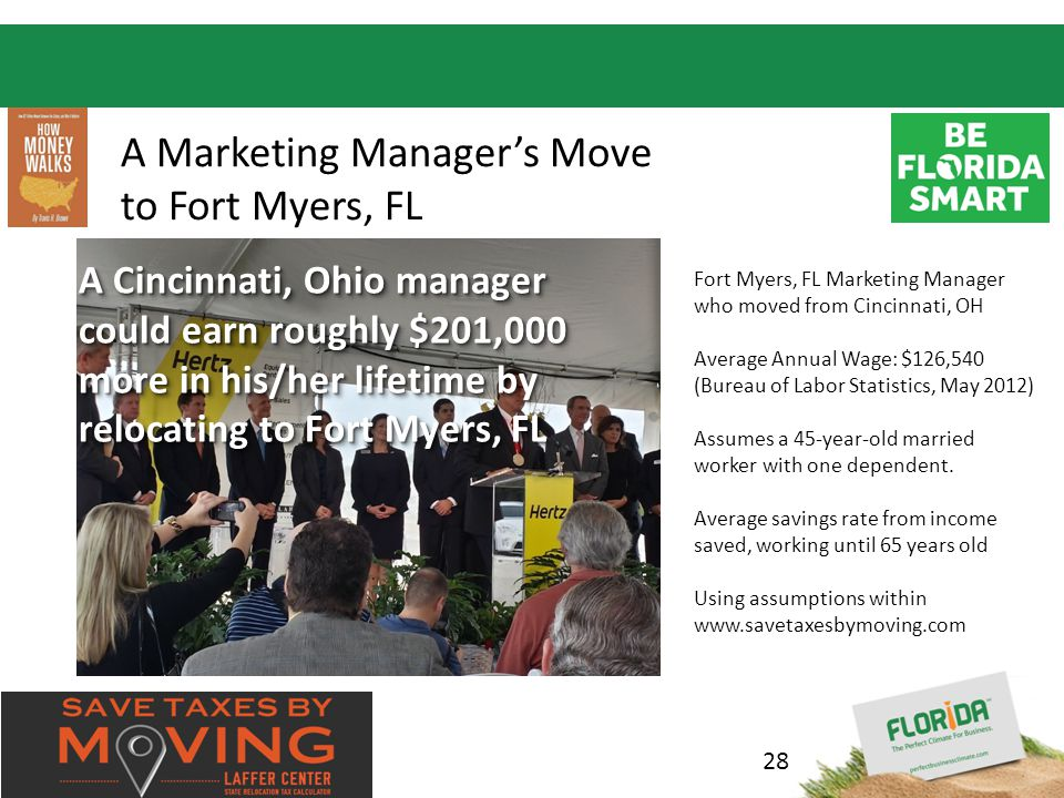 Insert your logo here A Marketing Manager's Move to Fort Myers, FL A Cincinnati Marketing Manager could earn roughly $201,000 more in their lifetime by relocating to Fort Myers, FL Fort Myers, FL Marketing Manager who moved from Cincinnati, OH Average Annual Wage: $126,540 (Bureau of Labor Statistics, May 2012) Assumes a 45-year-old married worker with one dependent.