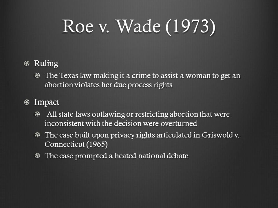 Roe v. Wade (1973) Ruling The Texas law making it a crime to assist a woman to get an abortion violates her due process rights Impact All state laws o
