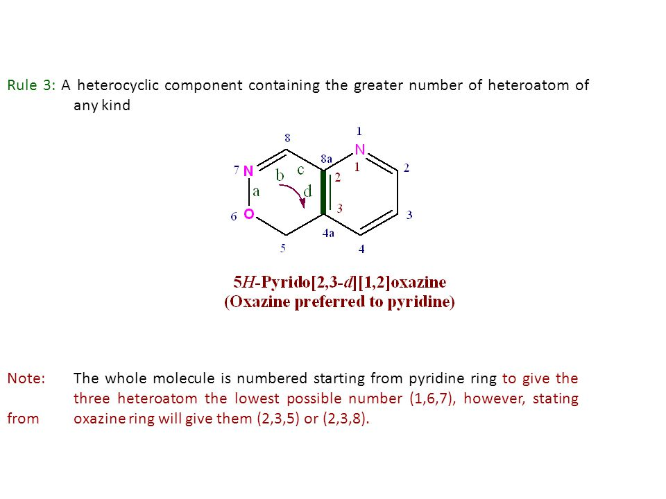 Rule 3: A heterocyclic component containing the greater number of heteroatom of any kind Note:The whole molecule is numbered starting from pyridine ri